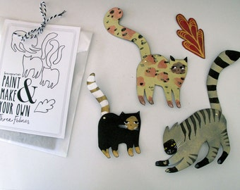DIY Feline Kit  / Make your own Three Cats  / Hinged Beasts Series