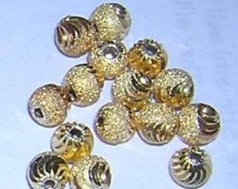 Diamond cut & Stardust beads half and half 6MM (15)