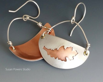 Hand Pierced Leaf Earrings in Argentium and Copper