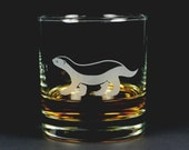 Honey Badger etched lowball glass