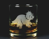 Triceratops Dinosaur etched lowball glass