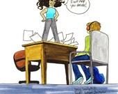 No.137 Super School Counselor / Original Artwork / Daily Doodle / Art Print