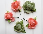 Clearance Sale - Vintage Millinery Flowers - Peach and Green - Japan - Large Roses