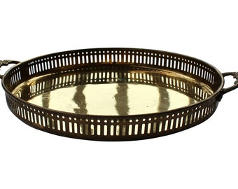 Reticulated Brass Tray w/ Handles