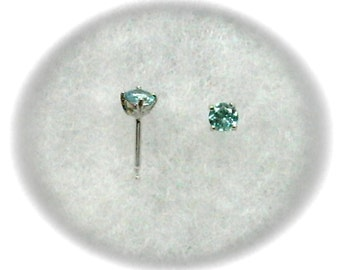 Blue Apatite 4mm Gemstones in 925 Sterling Silver Stud Earrings