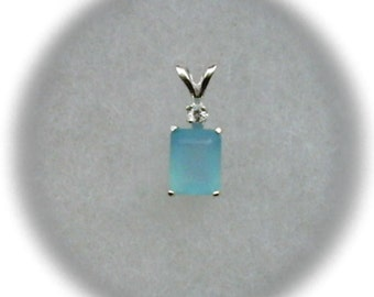 8x6mm Blue Chalcedony Gemstone with 2mm White Sapphire Gemstone Accent in 925 Sterling Silver Pendant Necklace