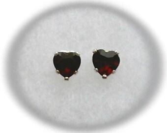 5mm Red Garnet Gemstone Hearts in 925 Sterling Silver Stud Earrings January Birthstone