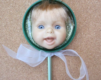 GREEN - upcycled baby doll stick