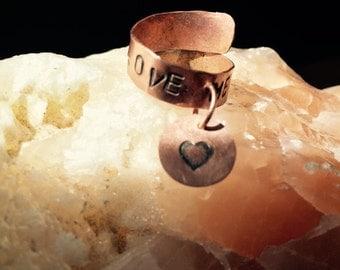 "Adjustable Ring  Copper ""Love Me"" Dangle"