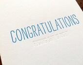 Hidden Message: Congrats F-S, single letterpress card