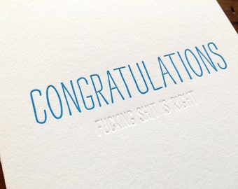 Hidden Message: Congrats F-S, single letterpress card