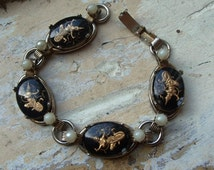 FREE SHIPPING Vintage Siam Dancer Black and Faux Pearl Bracelet