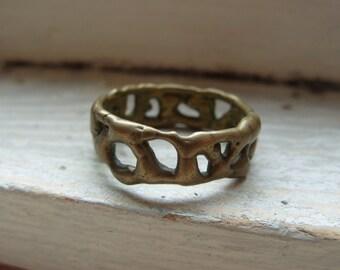 FREE SHIPPING Vintage Brasstone Unisex Band Industrial Modern Design Ring - Size 10 1/2