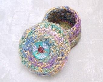 Silk Tapestry Basket with Art Deco Rose Embellished Lid - Unique Multicolor Basket in Spring Pastels - Handmade Basket Gift for Mom STB013