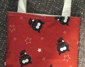 tote bag, library bag, book bag, red with black cats, white stars, handmade, up-cycled, reversible 11 by 13 inches,  gift bag,