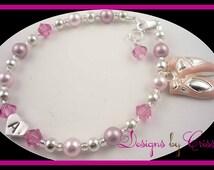 Ballet Recital Bracelet, Dance Bracelet. Personalized charm gift for dancing girls