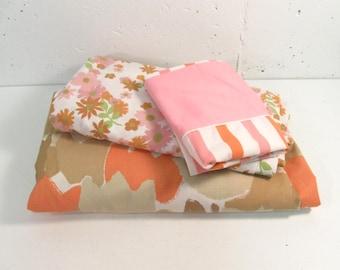 Vintage Twin sheets Vera tulip print, daisy print, pink orange stripe print
