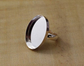 Adjustable Oval Bezel Sterling Silver Ring Setting - 25 x 18 mm