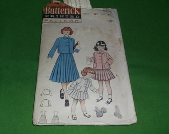 Vintage Butterick sewing Pattern 6236 Girls Suit Double Breasted jacket