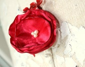 Red boutonniere, red mens wedding boutonniere, fabric flower boutineer, buttonhole, red grooms flower
