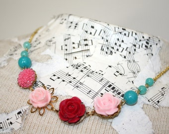 Pink and aqua necklace, pink necklace, bright pink flower and bead necklace, resin flower and glass bead, teal wedding jewelry