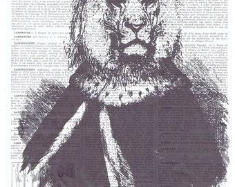 Art Print.Lion.Handmade,Gift.Repurposed Vintage Book Page.King Vintage Illustration,buy 3 get 1 FREE,French, Antique.home deco.nursery.child