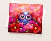 Owls in a Poppy Field - Artistic Stationary Cards - Red Poppies Pretty Card Set