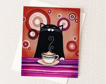 Coffee Lover Card - Funny Cat Card - Cat Lover Stationary