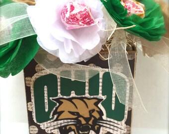 Ohio University OU Bobcats Athens Ohio Graduation Party Tissue Paper Flower Lollipop Arrangement OU...Oh Yeah!