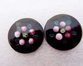 Vintage 1950s Rare Dresden Floral Enamel with Black Japan Base Cabochons -  21mm - Pair