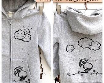 Rainy Day (6yrs) Rocky the Zombie Zip up hoodie for punk rock kids, storm clouds moody grumpy umbrella alternative by Loverocky