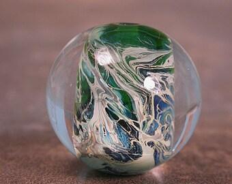 Lampwork Glass Webbed Round Marble-Like Focal Bead Greens Blues Divine Spark Designs SRA LeTeam