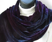 Hand dyed velvet scarf for women-Purple, teal, and grey velvet scarf , winter fashion , Holiday fashion, womens scarves soft and warm