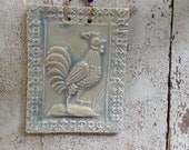 Strutting Rooster Tile in Glossy Celadon