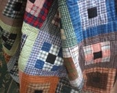 Twin Sized Quilt in Plaid Homespun and Flannel