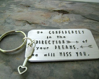 Graduation Gift, Go Confidently in the Direction of Your Dreams Keychain, charm choice, Thoreau quote, senior gift, class of 2017
