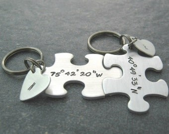 Latitude Longitude Interlocking Puzzle Piece Keychains, set of 2, initials on tiny hearts, customize these with your coordinates, gps