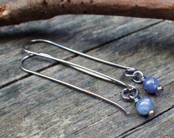 Kyanite sterling silver long dangle earrings