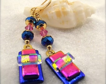 Unique Fused Glass Earrings, Dichroic Glass Earrings, Hana Sakura, Mod design earrings, Handcrafted, hot pink jewelry, Blue earrings, ooak