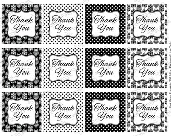 Printable Black and White Damask and Dot Thank You Tags - Instant Download