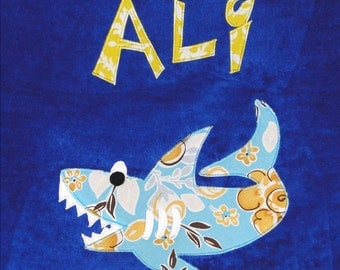 Personalized Large Royal Blue Velour Beach Towel with Shark,Pool Towel,Camp Towel,Kids Bath Towel, Baby Towel, Bridal Party Gift, Bath Towel
