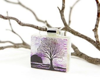 Tree of Life- Dichroic Jewelry- Glass Pendant - Tree Necklace - Tree of Life - Dichroic Fused Glass Jewelry - Pendant - Dichroic Glass