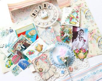 Vintage Wedding Collage Scrapbook Pack - Pastel Pink Blue Bride Kit