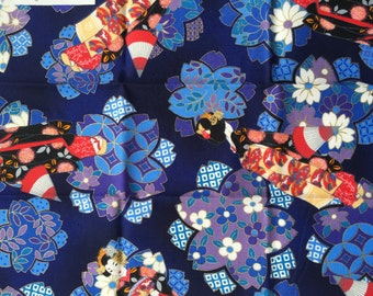 Japanese Fabric-  Cherry Blossom Fabric - Traditional Japanese - Blue Fabric - Floral Fabric - Geisha Fabric  (F153) SMALL SIZE