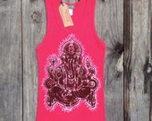 Ganesh Batik yoga eco friendly hand painted ribbed tank top women red sizes XS, S, M, L, XL, XXL