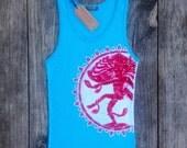 Shiva batik yoga handmade eco friendly turquoise size XS, S, M, L, XL, XXL - Tops & Tees -