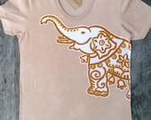 Elephant batik women tshirt - yoga clothes - handmade individually eco friendly tan/chino - Tops & Tees -