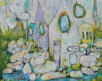 Print 10 x 10  of  Funky Cottage Houses Into the Woods by Jodi Ohl