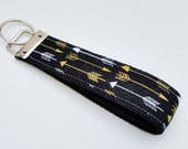 Keychain Wristlet Key fob - Arrows in Metallic Gold, White and Black