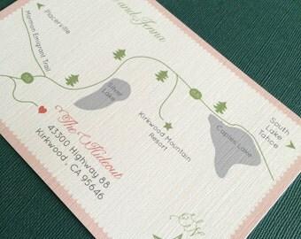 Kirkwood California custom wedding map, digital file